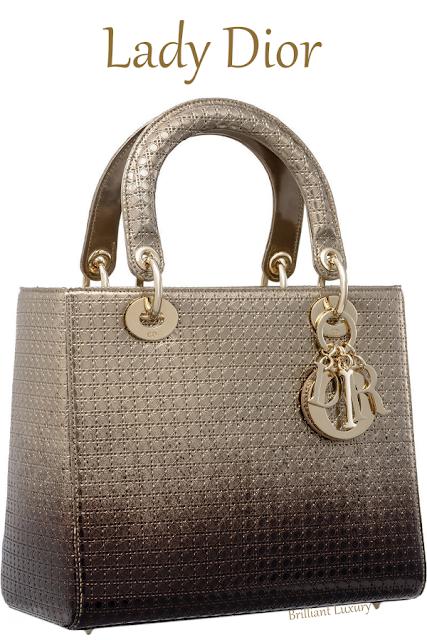 Gold-tone and ebony graded metallic calfskin Lady Dior bag with microcannage motif #brilliantluxury