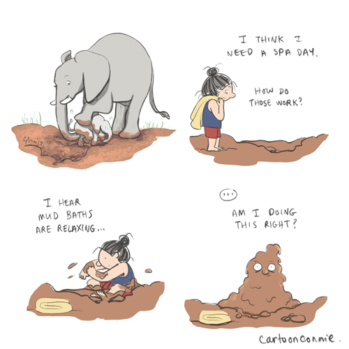 sketchbook, illustration, elephants, mud baths, comics, humor, connie sun, cartoonconnie, introverts