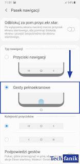 Samsung Ustawienia Gesty pełnoekranowe