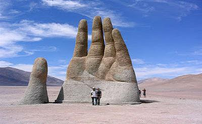 The Hand of the Desert sculpture, Chile.