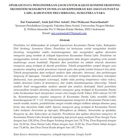 Aplikasi Data Penginderaan Jauh Untuk Kajian Kondisi Eksisting Ekosistem Mangrove [PAPER]