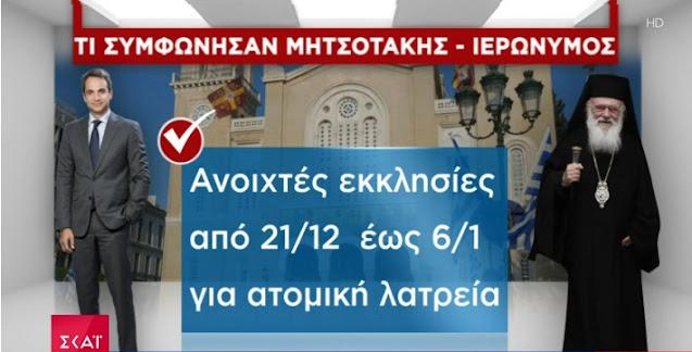 Ανοιχτό το ενδεχόμενο να ανοίξουν οι εκκλησίες 21 Δεκεμβρίου έως 6 Φεβρουαρίου
