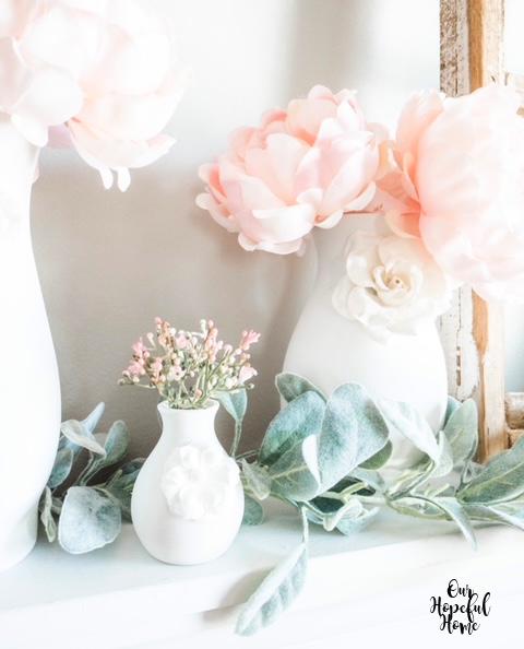 white bud vase paper flower embellishment pink flowers