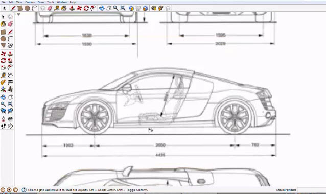 Audi R8 Tracing In Google Sketchup Drawing99