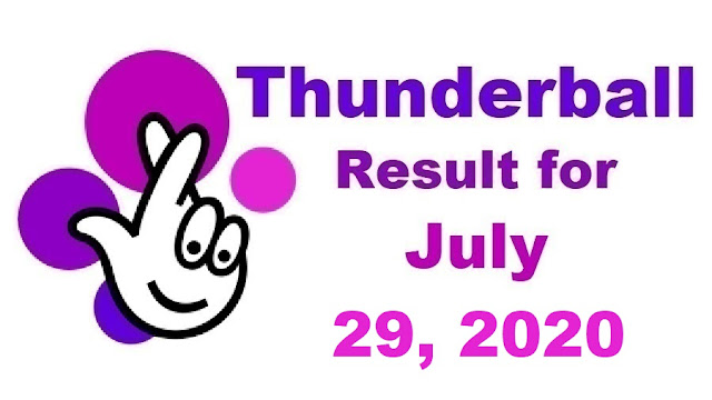 Thunderball Results for Wednesday, July 29, 2020