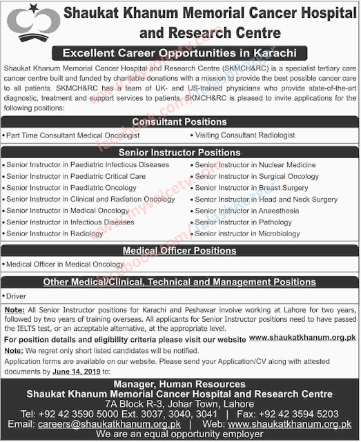 ➨ #Jobs - #Career_Opportunities - #Jobs - in a Shaukat Khanam Memorial Cancer Hospital and Research Centre  - Last date is 14 June 19