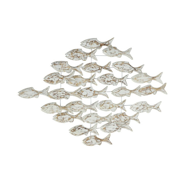 Iron And Textured Albasia Wood Fish Wall Decor