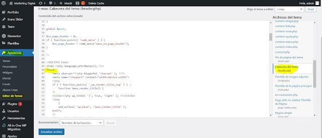Desde el wp-admin de tu Wordpress: Una vez que te has logeado al panel administrativo de tu Wordpress, con la opcion de www.mistio.com/wp-admin, das clic en la opción Apariencia, y luego Editor de temas, puede que te aparezca una alerta que vas a realizar cambios, y lo aceptas. En el menú de la derecha ubicas el archivo header.php y lo abres. Y luego ubicas las etiquetas <head> </head> dentro de este archivo, realizas el cambio y das clic en Actualizar el archivo.