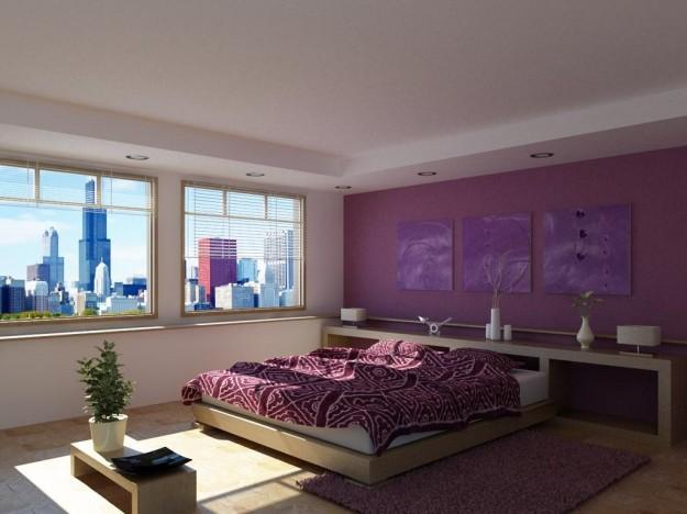 Quartos de casal em tons de roxo e violeta  Decorao e