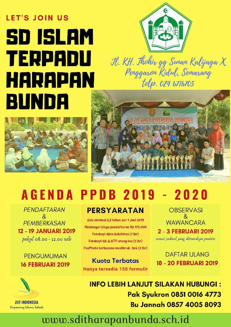 Ppdb Sd Semarang 2020 : semarang, Agenda, (Penerimaan, Peserta, Didik, Baru), Tahun, 2019-2020, Harapan, Bunda, HARAPAN, BUNDA