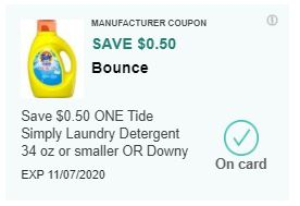 LOAD $0.50/1 Tide Simply or Downy CVS APP ONLY MFR Coupon (go to CVS App)