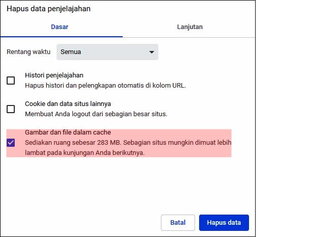 Cara Menghapus Cache di Google Chrome Windows
