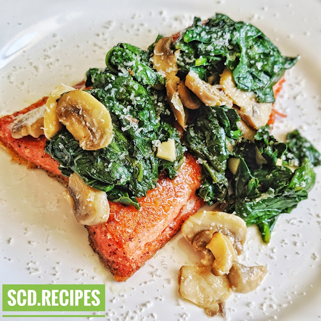 SCD Salmon with Pine Nuts, Spinach, and Mushrooms