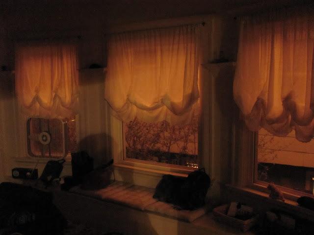 Orange light coming in through windows