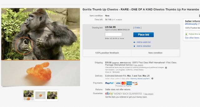 Imagina que un Cheeto es un gorila y lo vende por 100 mil
