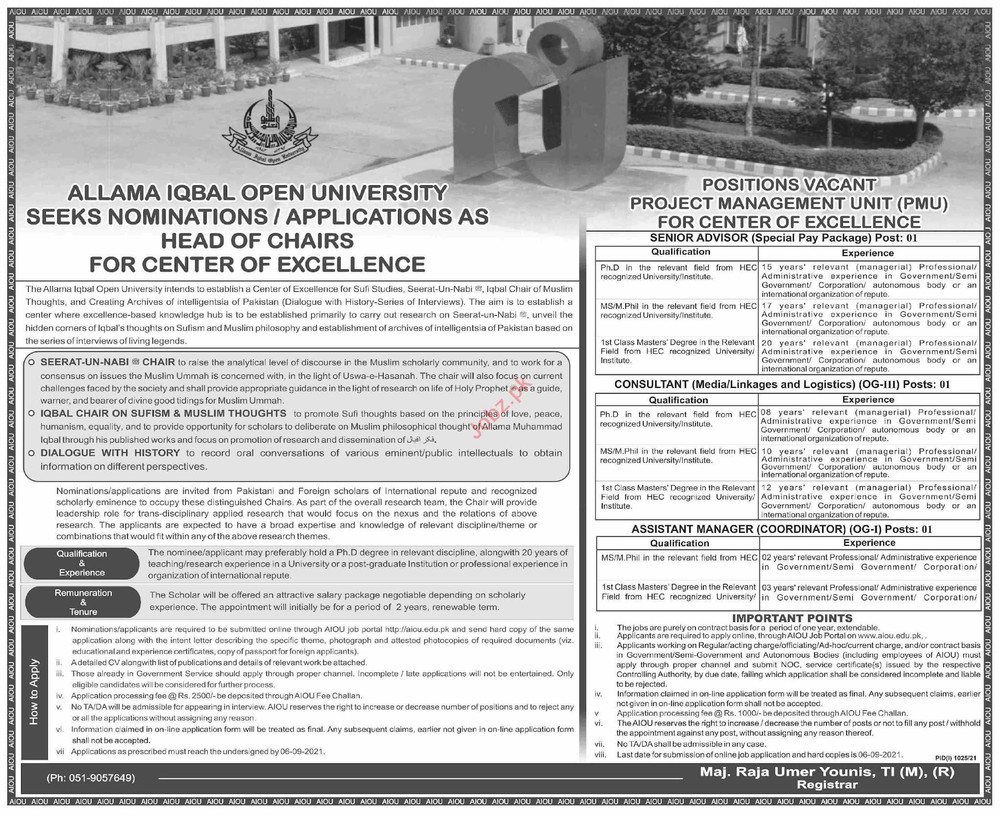 Allama Iqbal Open University AIOU Jobs 2021 in Pakistan