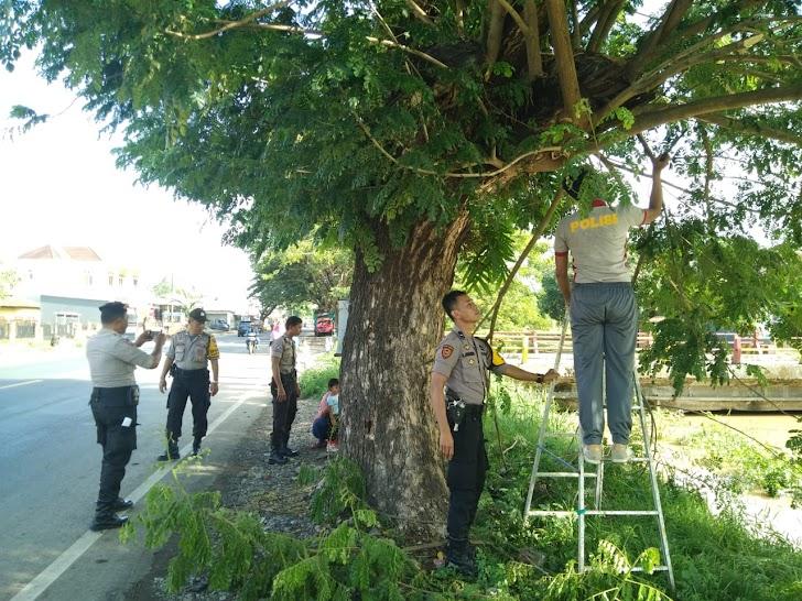 Cegah Pohon Tumbang, Kapolsek Bajeng Bersama Personil Pangkas Dahan Pohon Didepan Makopolsek