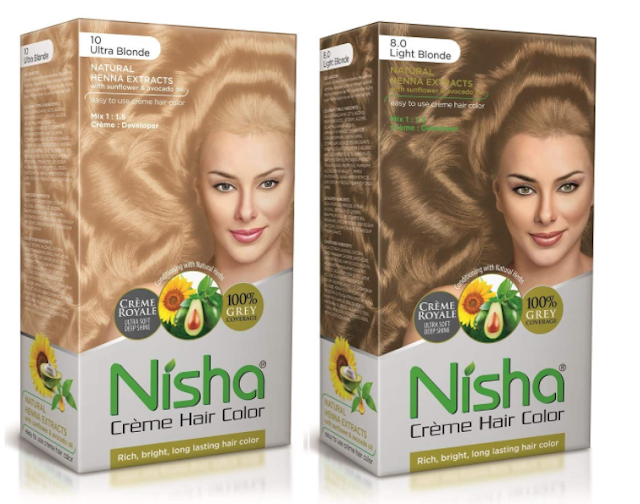 Nisha Cream Hair Color Rich Bright Long Lasting Hair Colouring For Ultra Soft Deep Shine 100% Grey Coverage Conditioning With Natural Herbs 300ml Ultra Blonde and Light Blonde (Pack of 2)