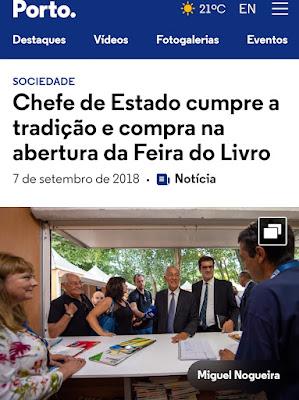 anuncio da presença do Presidente da República na Feira do Livro do Porto