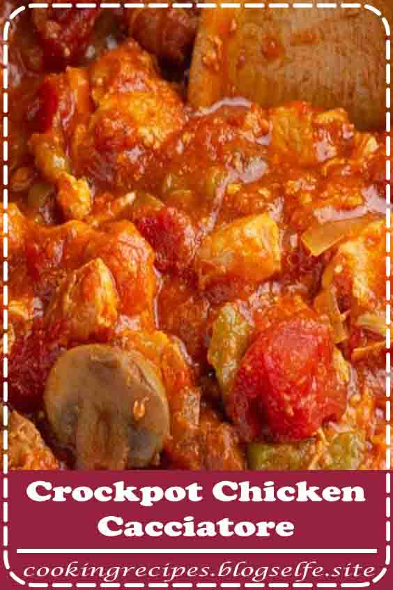 4.9 ★★★★★ | This family friendly classic Italian dinner recipe gives you a delicious meal with out hard work! Serve this Crockpot Chicken Cacciatore Recipe over pasta or zoodles and a salad for a complete meal. #dinner recipes #for family #crockpot #meat