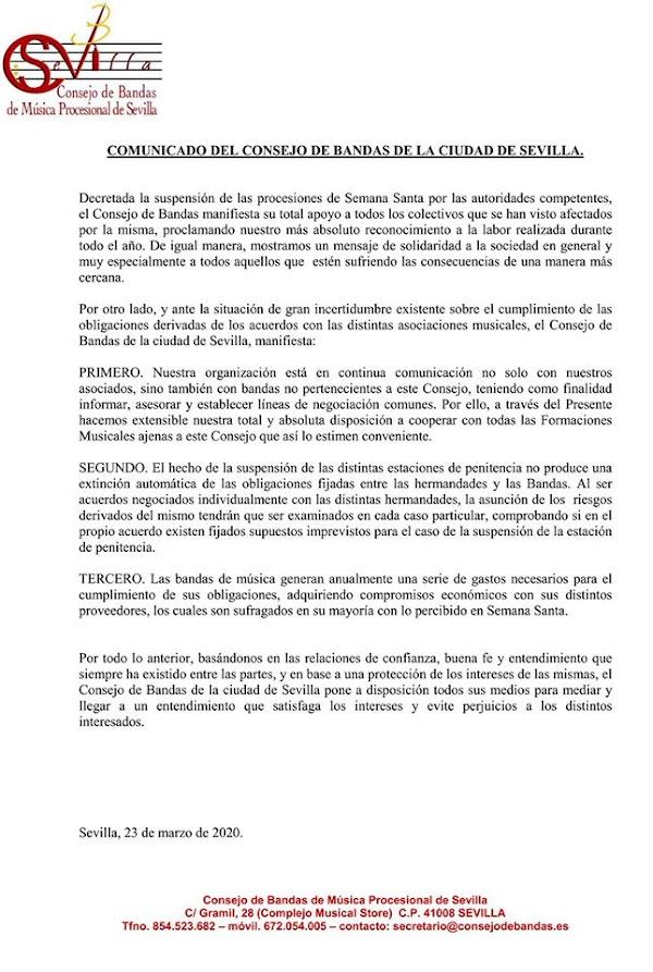 El Consejo de Bandas pide en un comunicado el buen entendimiento para la resolución de los contratos
