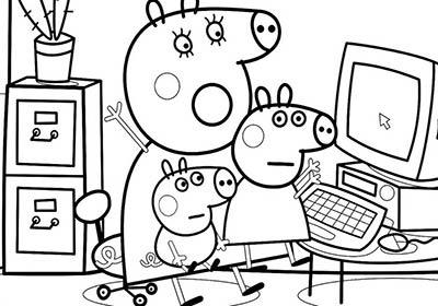 Peppa pig y mamá con george en el ordenador para colorear