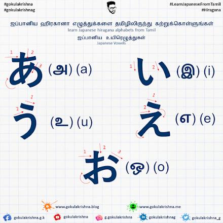 Japanese Hiragana Vowels with Strokes | learn Japanese hiragana alphabets from Tamil - Hiragana Letters Part 1