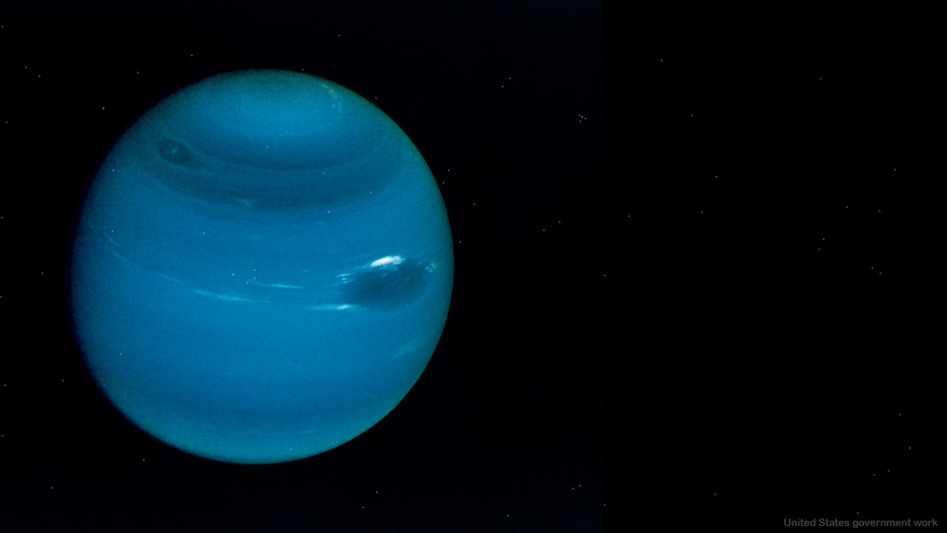 Blue Neptune on Black Background