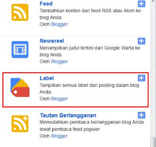 widget label blogger