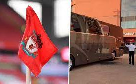 Liverpool fans smash Real Madrid's team bus window with stones and projectiles on way to Champions League quarter final clash (Photos/Video)