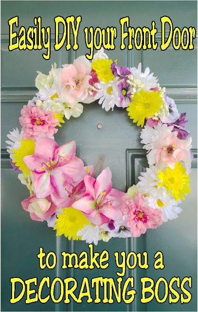 Decorate your home like a Mom Boss with this simple DIY spring floral wreath for Mother's day. You'll have your home looking beautiful enough to scare off the doldrums of winter once and for all.  #mothersdaywreath #springwreath