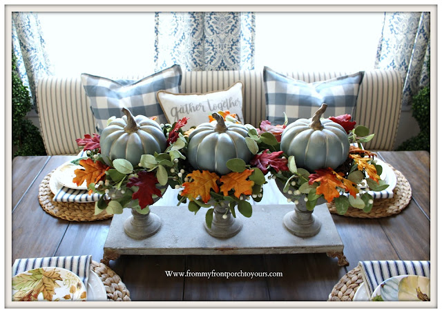 Fall -Tablescape -Pumpkin- Centerpiece-Mini-Wreaths-Blue-White-Decor-Cottage-Farmhouse- From My Front Porch To Yours