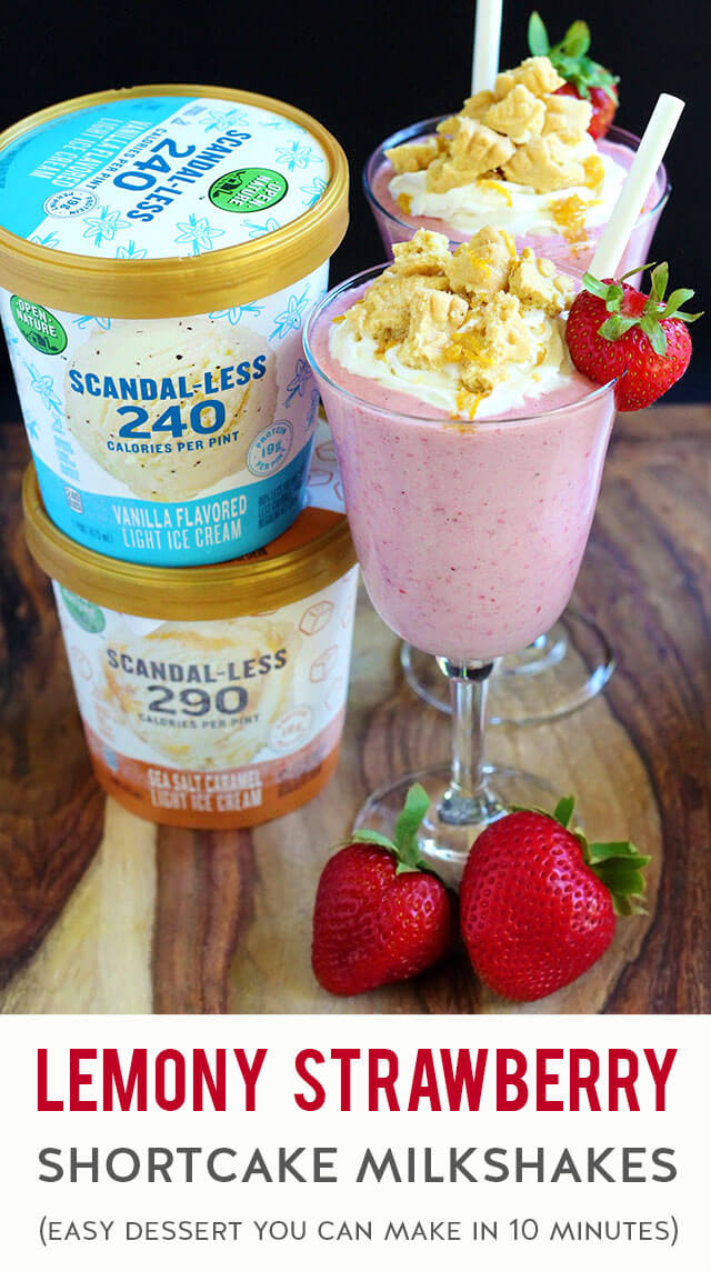 Need a quick & easy dessert to indulge a creamy craving? Fix this strawberry shortcake milkshake in minutes with fresh strawberries, ice cream, milk, lemon zest + juice, vanilla extract, and shortbread cookies. The combination of sweet, bright, cold, creamy & buttery flavors is heavenly!