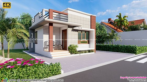 Economical Kerala home design rendering