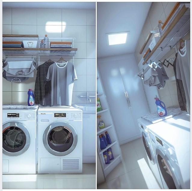 Thiết kế nội thất phòng giặt hiện đại 2019