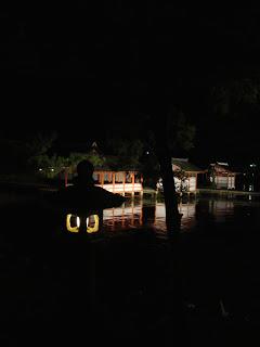 il santuario illuminato nella notte
