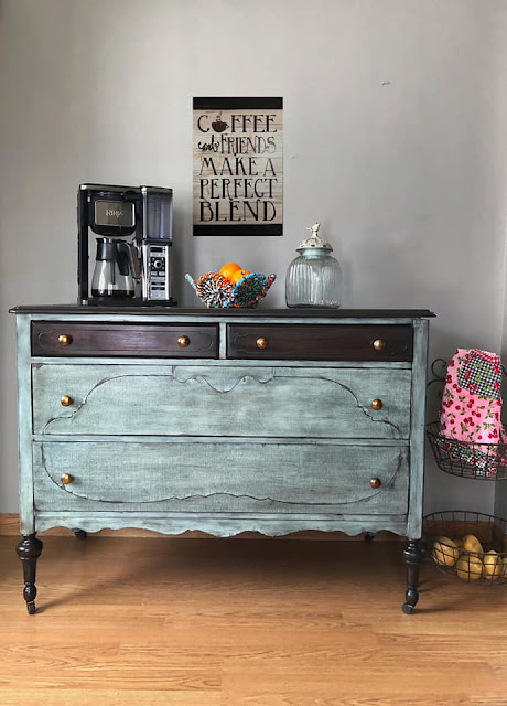 two tone dresser makeover