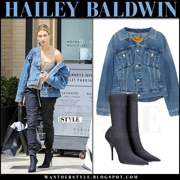 Hailey Baldwin in denim jacket, black pants and black boots balenciaga what she wore april 2017