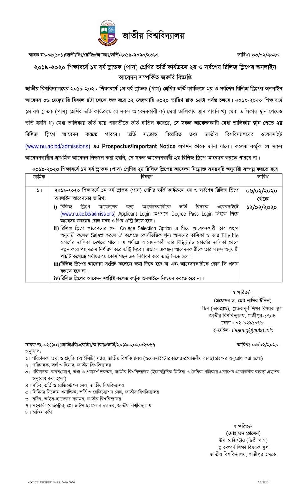 National University Degree Release Slip Notice Result 2019-2020
