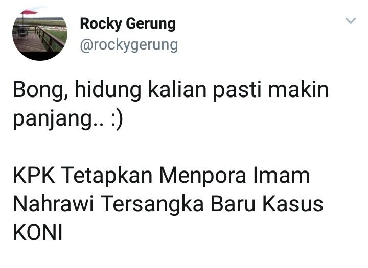 Imam Nahrowi Tersangka, Cuitan Rocky Gerung Bikin Bong Emosi