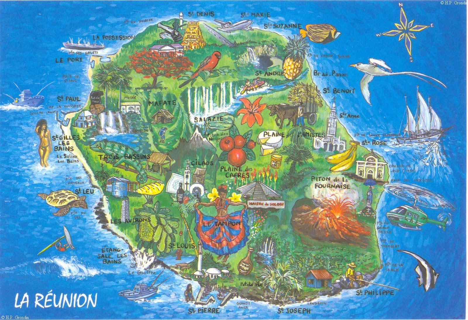 Mapas da Ilha de Reunião | França