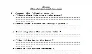 شيتات اسئلة واجابات بالترجمة على قصة The father and his sons