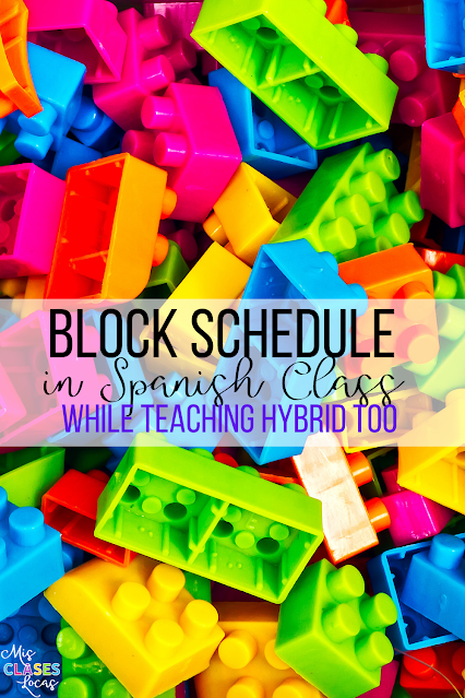 Block Schedule in Spanish class - shared by Mis Clases Locas