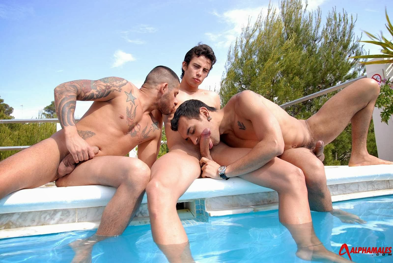outdoor hot gays threesome