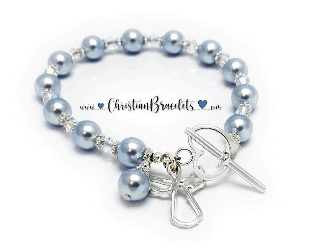 Guardian Angel Bracelet with a Heart Toggle Clasp.
