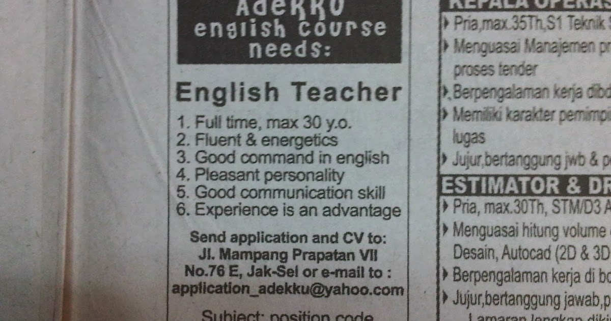 lowongan+kerja+adekku+english+course Job Application Letter Curriculum Vitae on formato de, what is, resume or, ejemplos de, high school,
