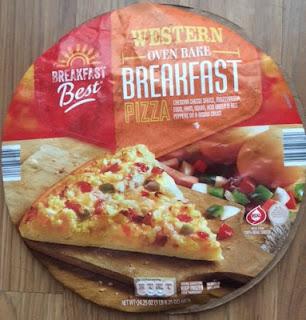 A sealed package of Breakfast Best Western Frozen Breakfast Pizza, from Aldi