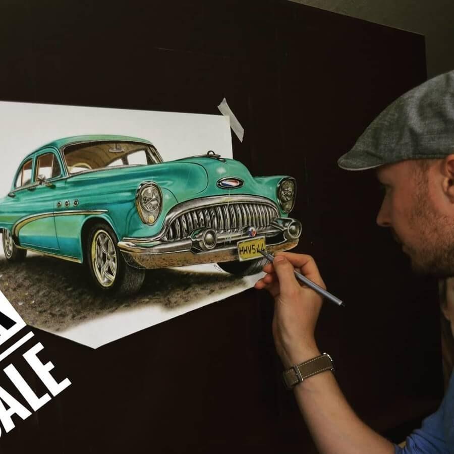 02-Vintage-Car-Stefan-Pabst-3D-Art-www-designstack-co