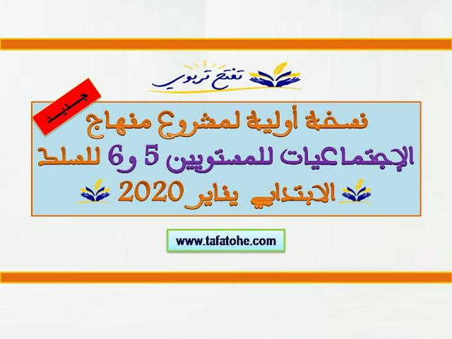 نسخة أولية لمشروع منهاج الإجتماعيات للمستويين 5 و 6 ابتدائي 2020