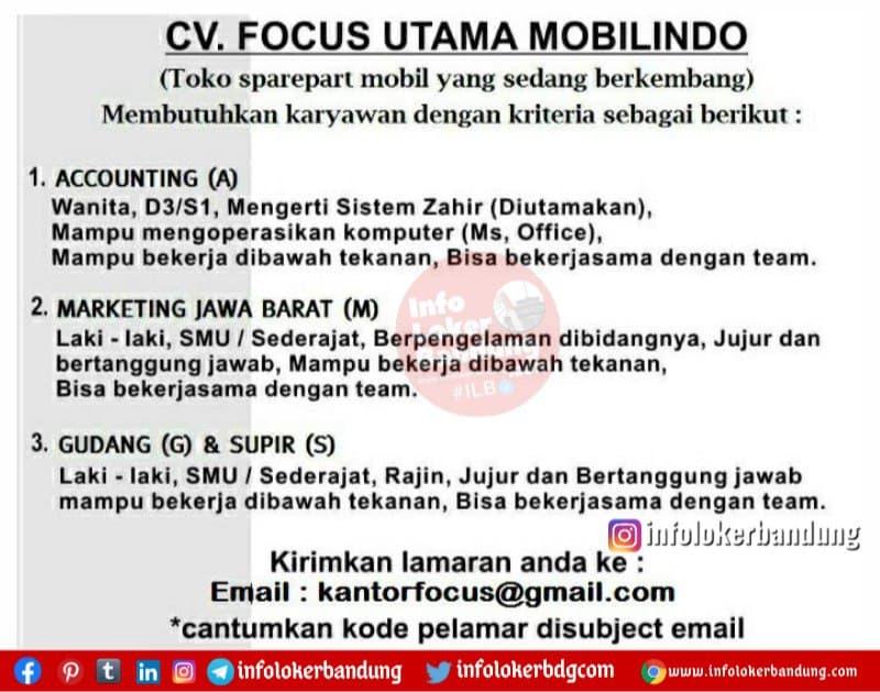 Lowongan Kerja CV. Focus Utama Mobilindo Bandung Mei 2021